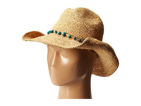San Diego Hat Company RHC1074 Crochet Raffia Cowboy w/ Turqoise Bead Trim - Natural