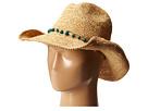 RHC1074 Crochet Raffia Cowboy w/ Turqoise Bead Trim
