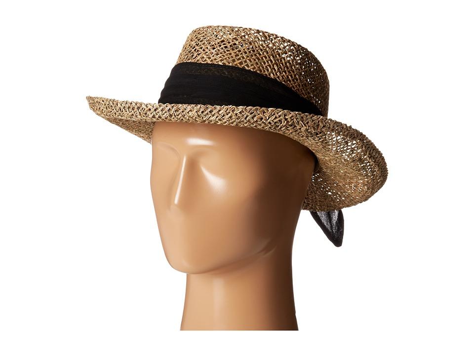 San Diego Hat Company - SGM504 Seagrass Gambler w/ Poly Chiffon Band (Black) Caps