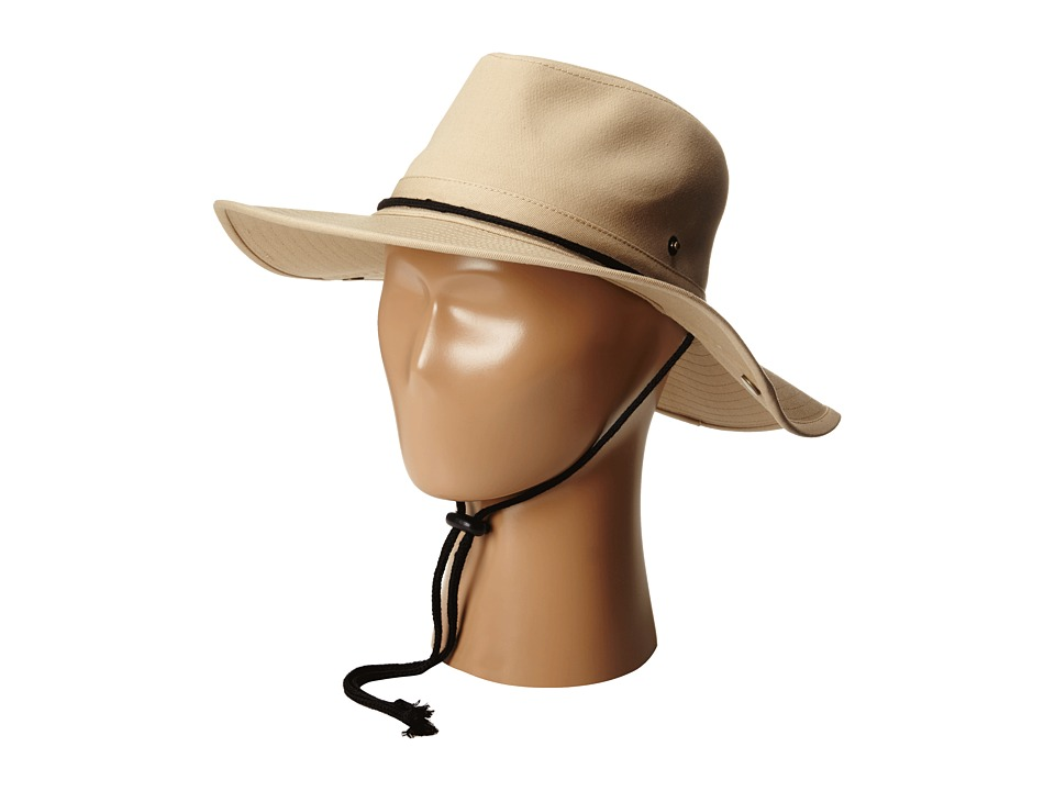 San Diego Hat Company Kids - CTK3434 Outdoor Hat w/ Side Snap Brim And Chin Cord (Beige) Caps