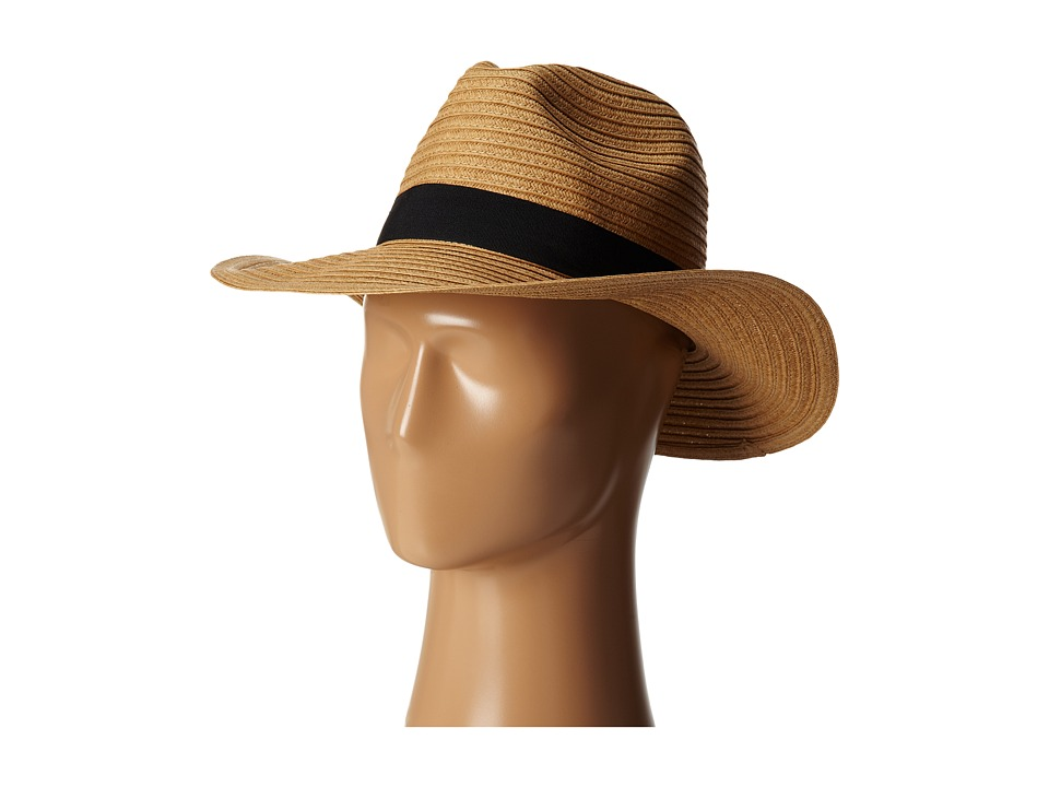 San Diego Hat Company - PBF7300 Paper Braid Fedora w/ Bow Band (Tobacco) Fedora Hats