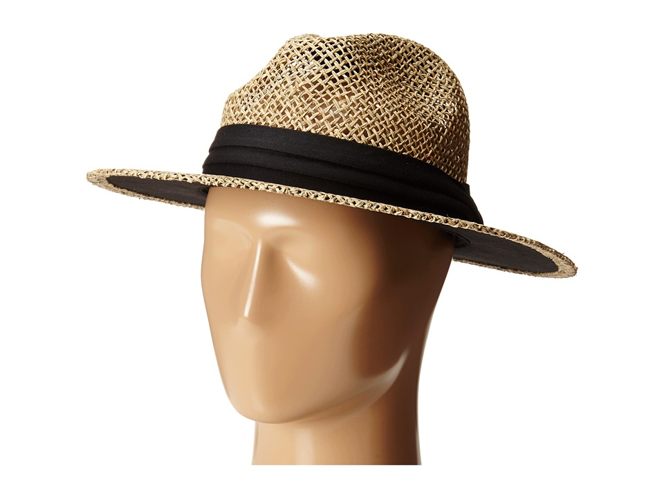 San Diego Hat Company - SGM502 Seagrass Panama Fedora w/ Cloth Band (Black) Fedora Hats