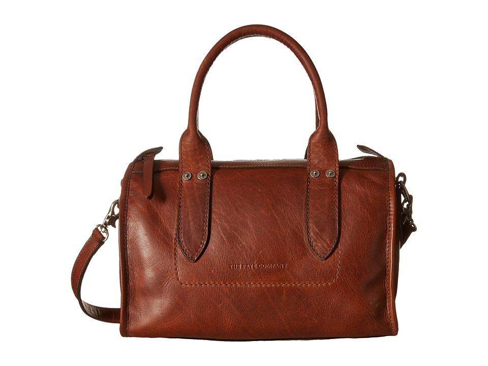 Frye Amy Zip Satchel Cognac Oiled Vintage Leather Satchel Handbags