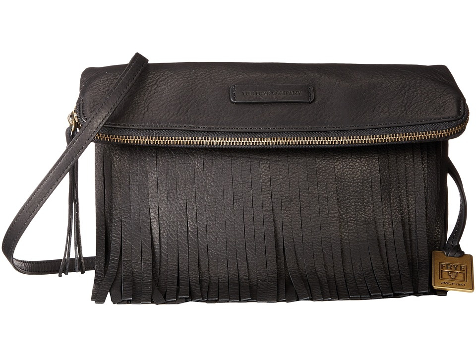 Frye - Heidi Fringe Crossbody (Black Soft Vintage Leather) Cross Body Handbags