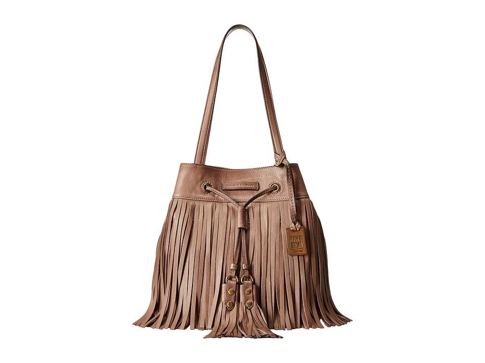 Frye - Heidi Fringe Bucket (Grey Soft Vintage Leather) Shoulder Handbags