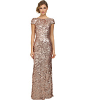Badgley Mischka - Cap Sleeve Textured Sequin Cowl Back Gown