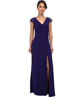 Badgley Mischka - Cap Sleeve V-Neck Gown