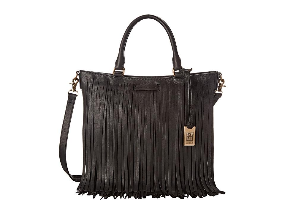 Frye - Heidi Fringe Tote (Black Soft Vintage Leather) Tote Handbags