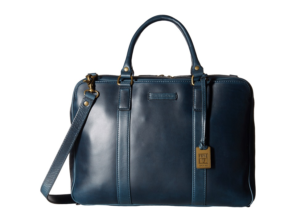 Frye - David Brief (Navy Smooth Pull Up) Briefcase Bags