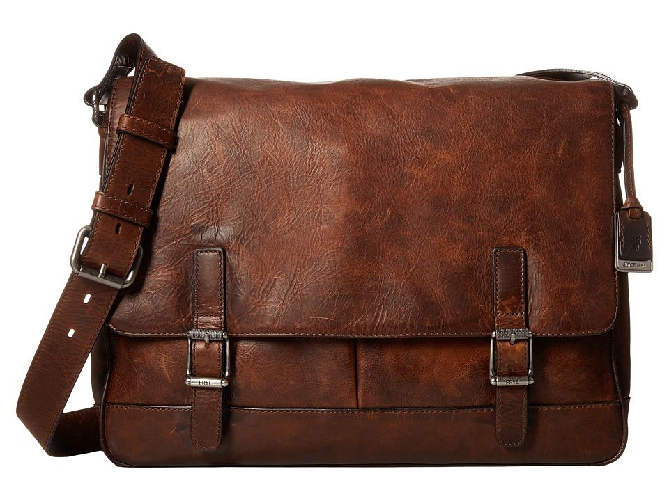 Frye - Oliver Messenger (Dark Brown Antique Pull Up) Messenger Bags
