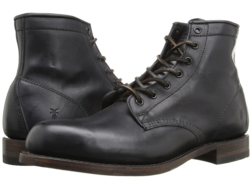 Frye - Arkansas Mid Leather (Black Vintage Pull Up) Mens Lace-up Boots