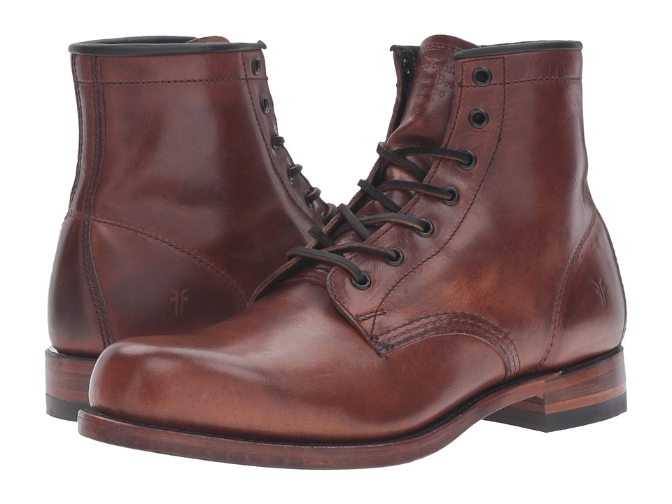 Frye Arkansas Mid Leather (Cognac Vintage Pull Up) Men
