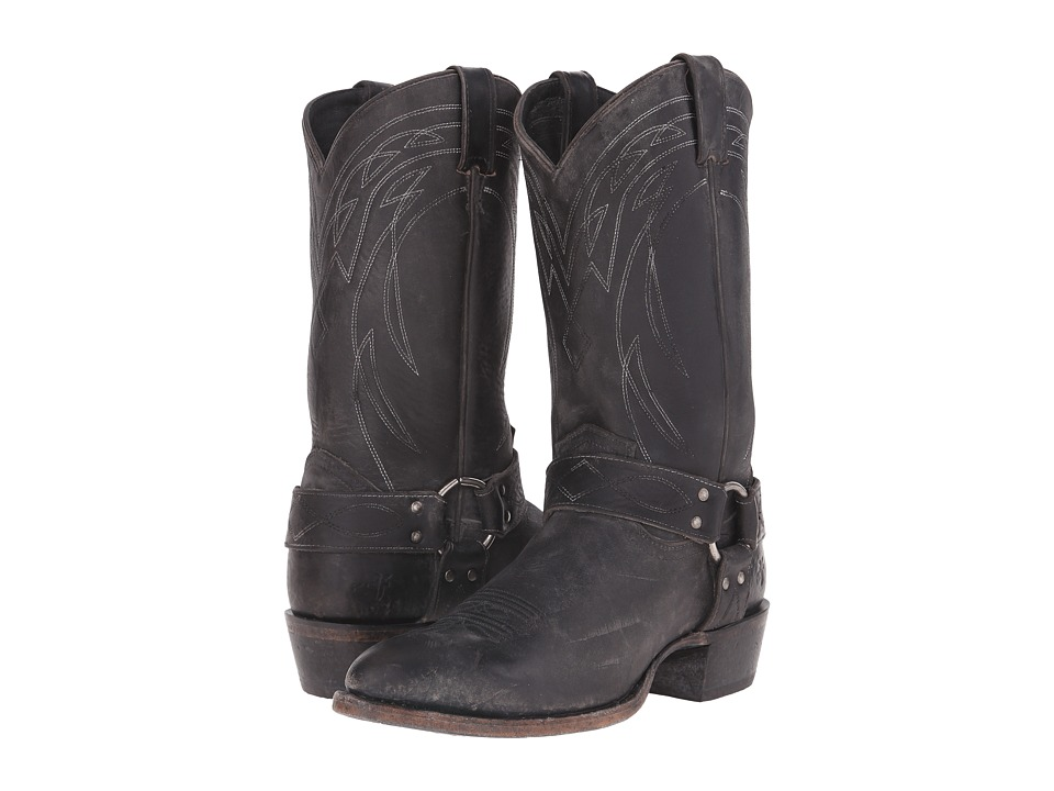 Frye Billy Harness Black Polished Stonewash Cowboy Boots