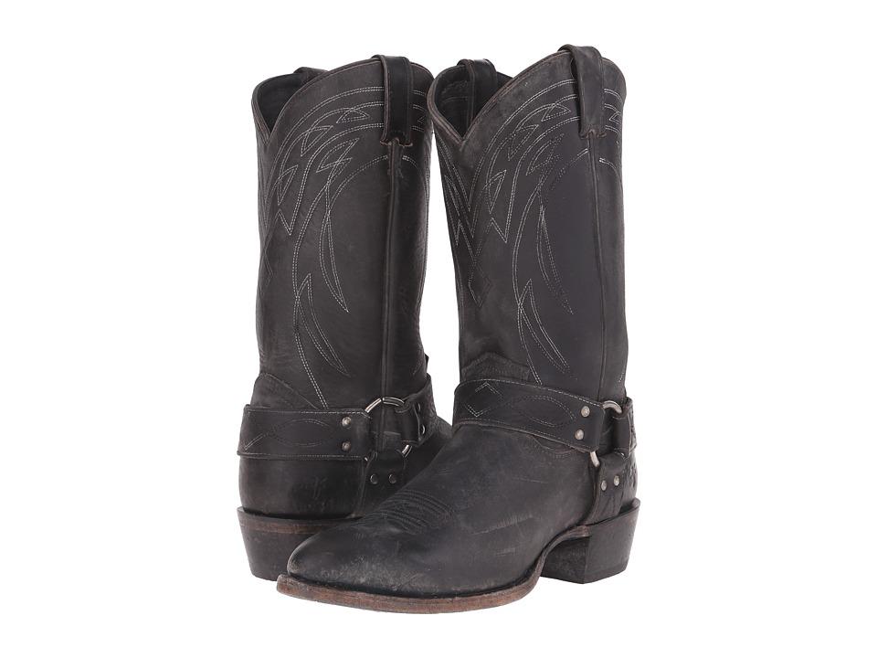 Frye Billy Harness (Black Polished Stonewash) Cowboy Boots