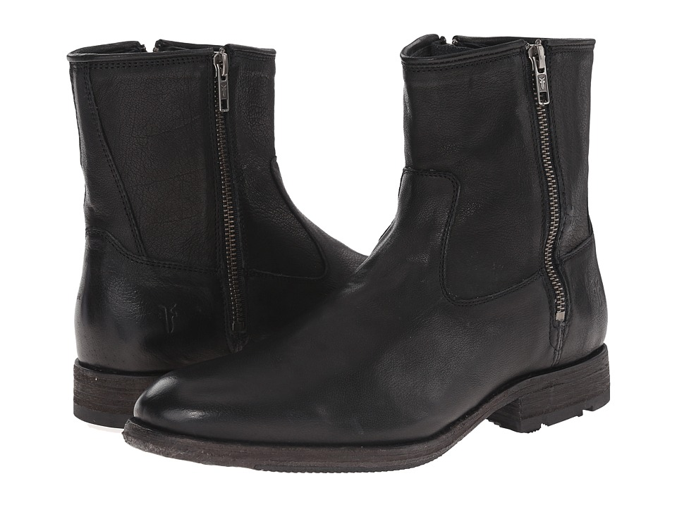 Frye - Ethan Double Zip (Black Buffalo Leather) Men