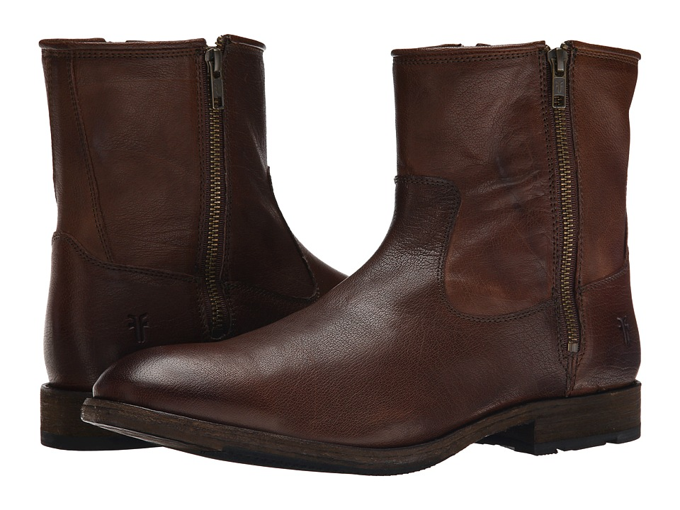 Frye - Ethan Double Zip (Dark Brown Buffalo Leather) Men