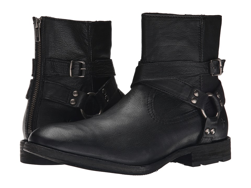 Frye Ethan Harness (Black Buffalo Leather) Cowboy Boots