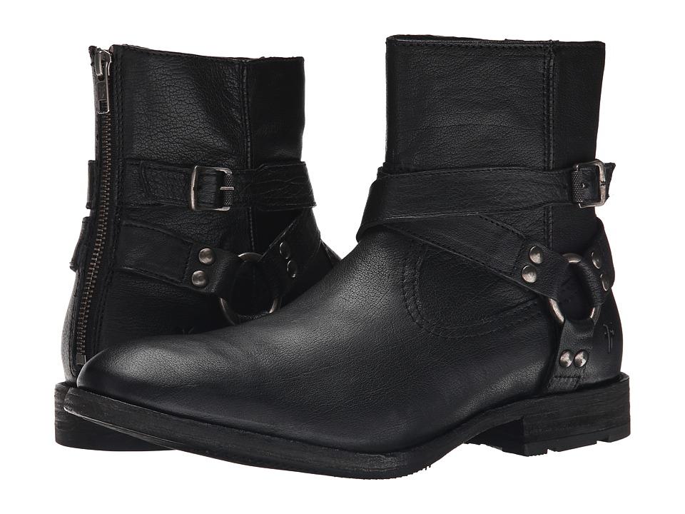 Frye Ethan Harness (Black Buffalo Leather) Cowboy Boots