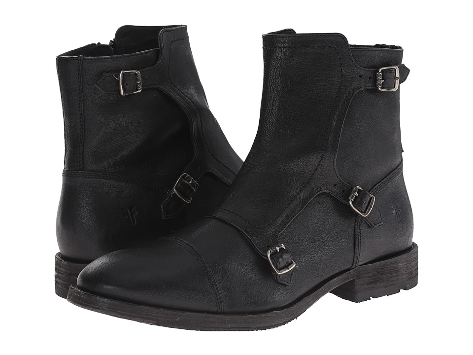 Frye - Ethan Triple Monk (Black Buffalo Leather) Men