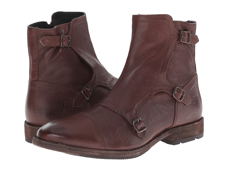 Frye - Ethan Triple Monk (Dark Brown Buffalo Leather) Men