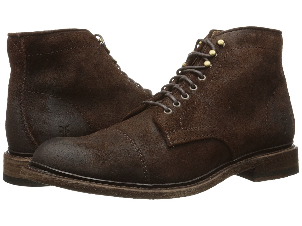 Frye - Jack Lace Up (Dark Brown Waxed Suede) Men