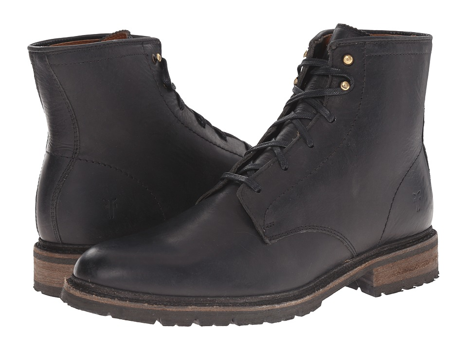 Frye - James Lug Lace Up (Black Smooth Full Grain) Men