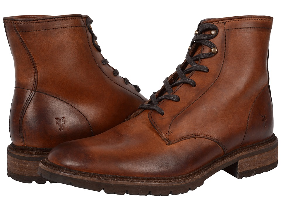 Frye - James Lug Lace Up (Cognac Smooth Full Grain) Men