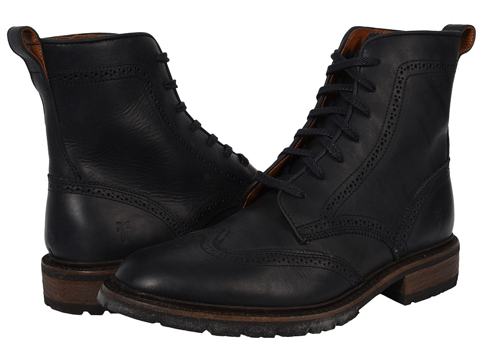 Frye - James Lug Wingtip Boot (Black Smooth Full Grain) Men
