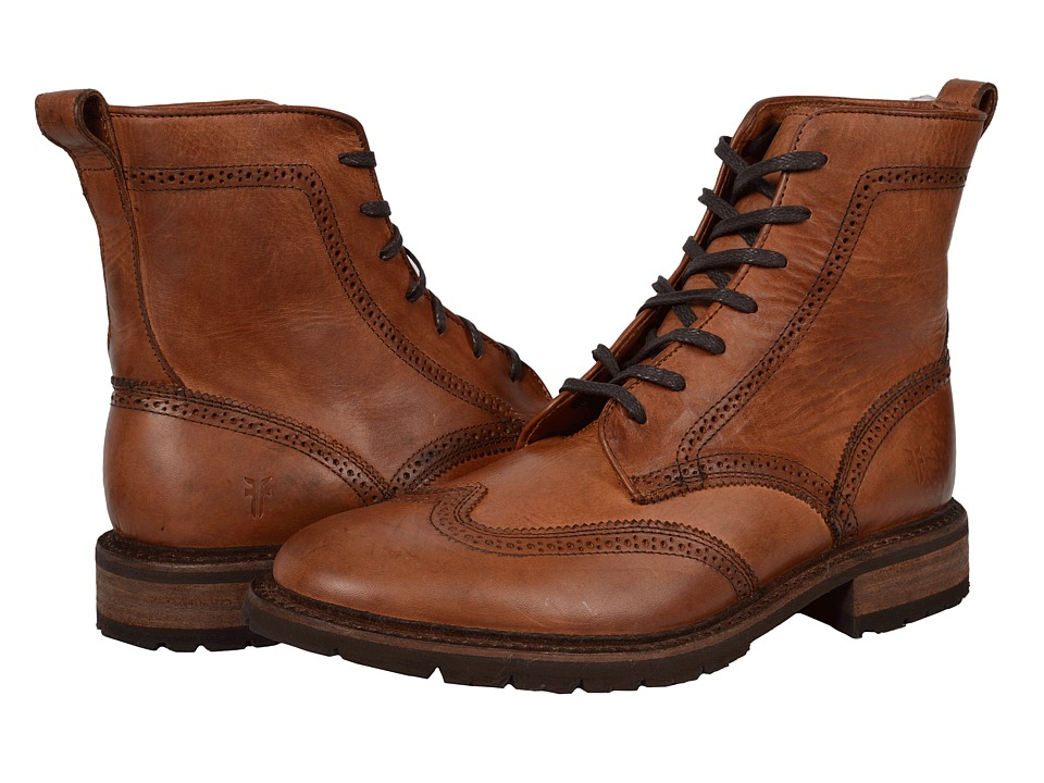 Frye James Lug Wingtip Boot (Cognac Smooth Full Grain) Men