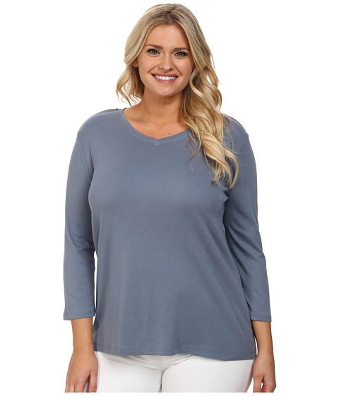 Pendleton Plus Size Three-Quarter Sleeve Rib Tee (Blue Ash) Women's Long Sleeve Pullover