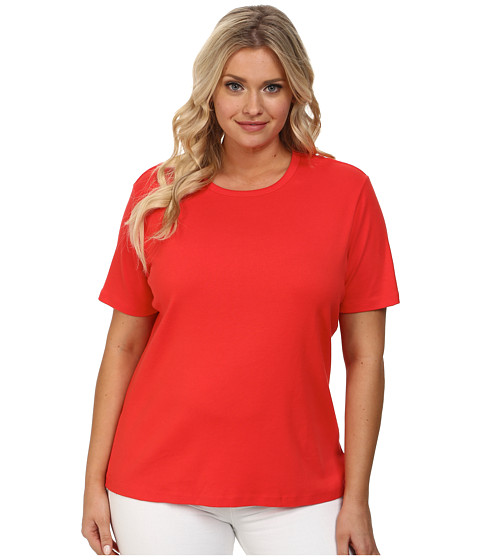Pendleton Plus Size S/S Rib Tee (Poppy Red) Women's Short Sleeve Pullover