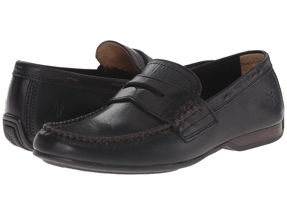 Frye - Lewis Penny (Black Oiled Vintage) Mens Slip on  Shoes