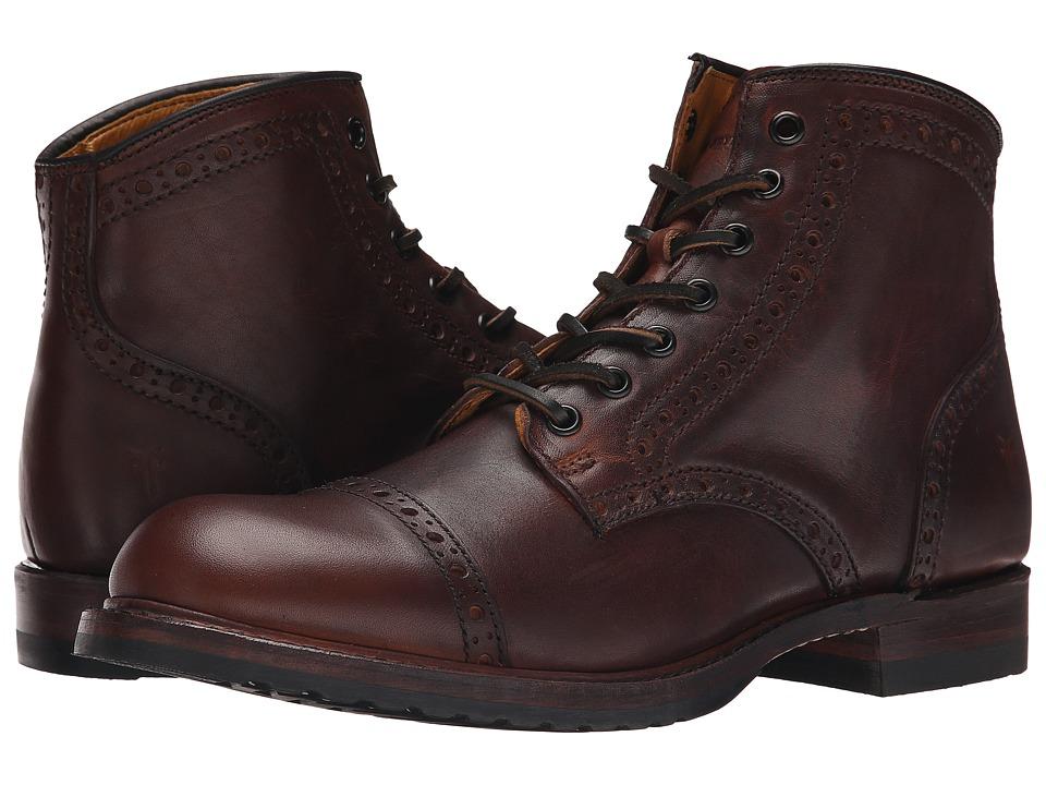 1930s Style Mens Shoes Frye - Logan Brogue Cap Toe Cognac Vintage Pull Up Mens Lace-up Boots $488.00 AT vintagedancer.com
