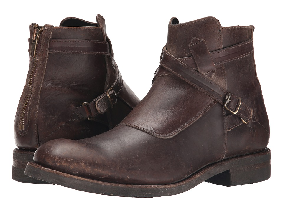 Frye Stone Cross Strap Espresso Polished Stonewash Mens Pull on Boots