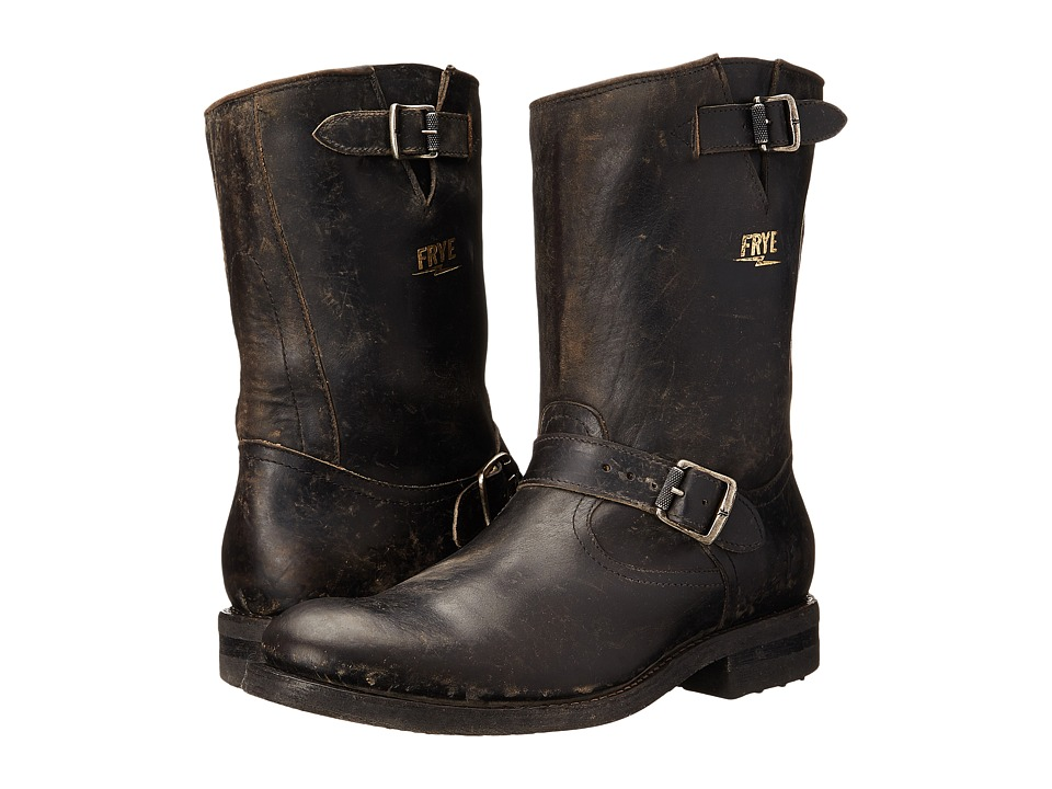 Frye - Stone Engineer (Black Polished Stonewash) Mens Pull-on Boots