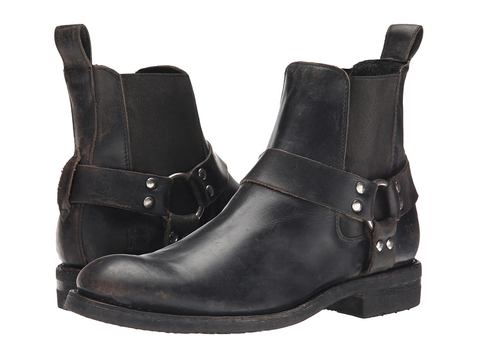 Frye Stone Harness Chelsea Black Polished Stonewash Mens Pull on Boots