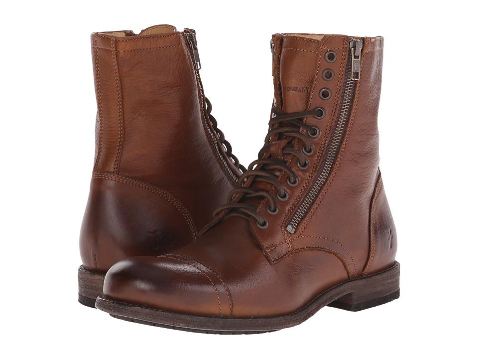 Frye Tyler Double Zip (Cognac Soft Vintage Leather) Men