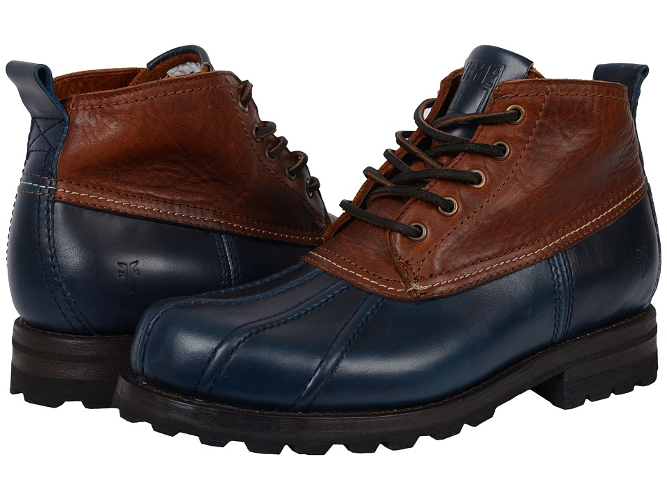 Frye - Warren Duckboot (Navy Multi Smooth Full Grain/Washed Vintage Leather) Mens Boots