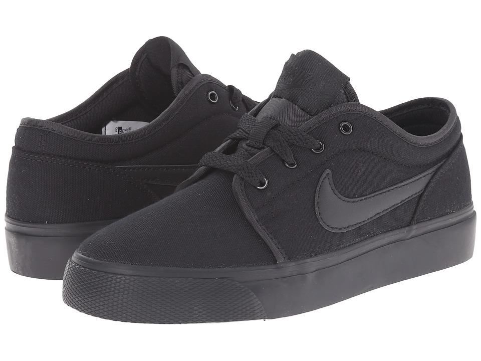 Nike SB Kids Toki Low Canvas Big Kid Black/Black Boys Shoes