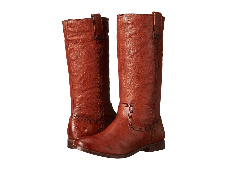 Frye Anna Mid Pull On Cognac Antique Soft Vintage Cowboy Boots