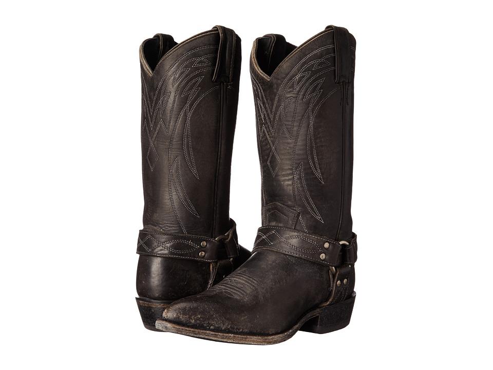Frye Billy Harness Black Smooth Stonewash Cowboy Boots