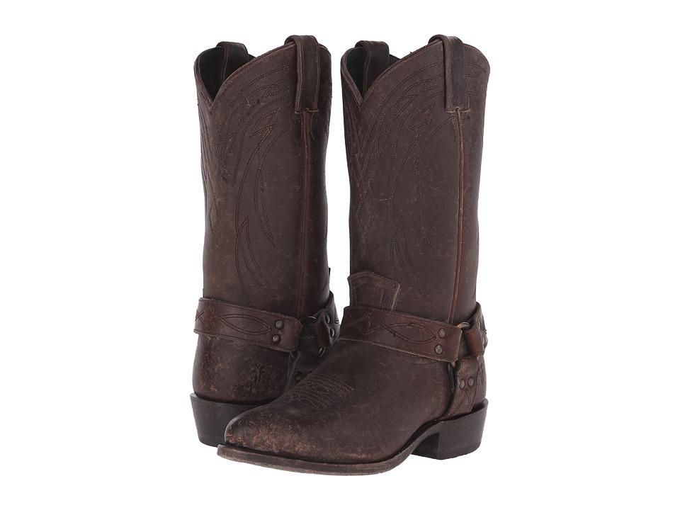 Frye Billy Harness Espresso Smooth Stonewash Cowboy Boots