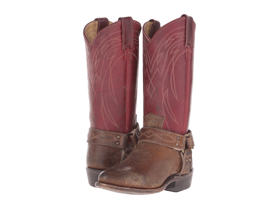 Frye Billy Harness Burgundy Multi Smooth Full Grain/Smooth Pull Up Cowboy Boots