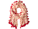 BSS1386 Printed Cotton Scarf w/ Flamingos and Tassels