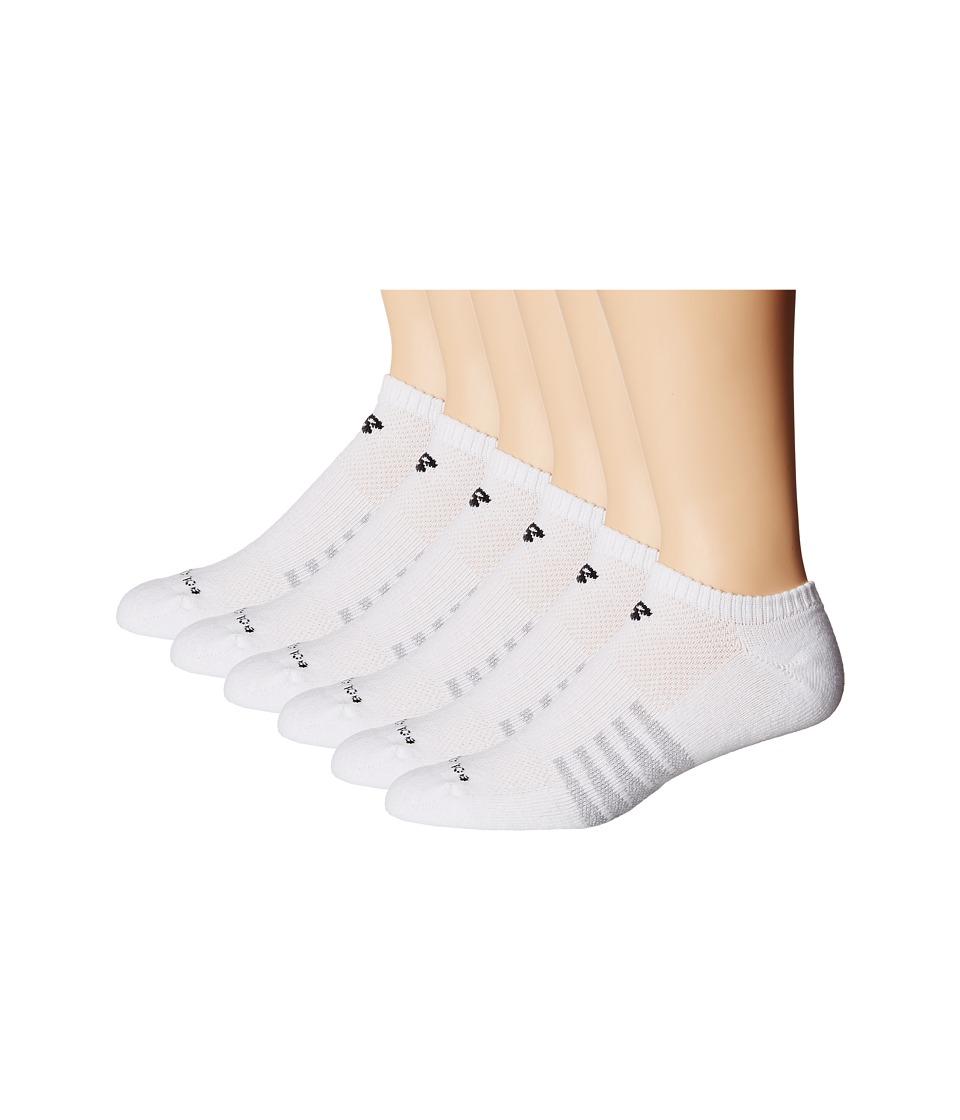 New Balance - No Show 6-Pack (White) No Show Socks Shoes