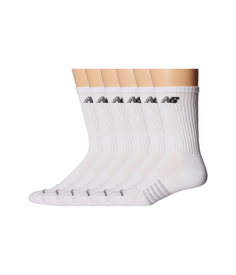 New Balance - Crew 6-Pack (White) Crew Cut Socks Shoes