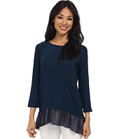 Dylan by True Grit - 3/4 Sleeve Long Ruffle Hem Top