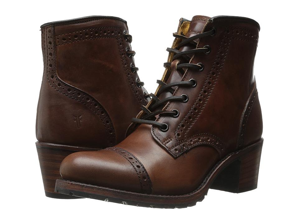 Frye Sabrina Brogue (Cognac Vintage Pull Up) Cowboy Boots