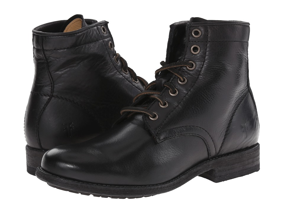 Frye Tyler Lace Up Black Soft Vintage Leather Womens Lace up Boots