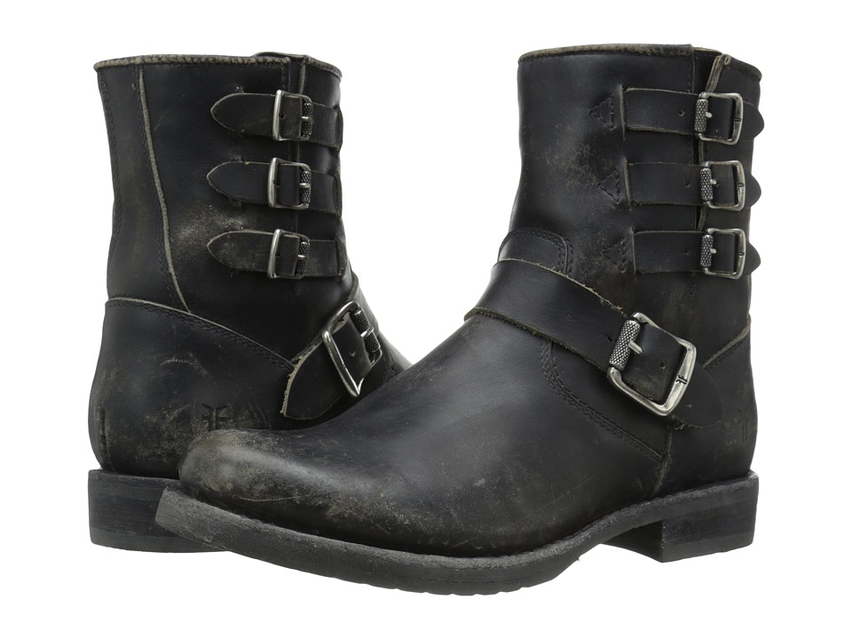 Frye Veronica Belted Short (Black Stonewash) Cowboy Boots